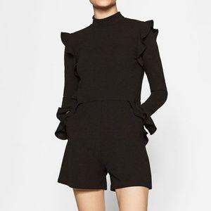 Zara Black Mock Neck Ruffle Romper Medium